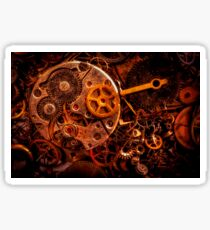 Steampunk clock gear rusty close up Sticker