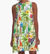 Tropical Parrot, Cockatoo and Toucan Rainforest A-Line Dress