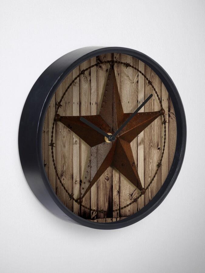 Alternate view of primitive western country barn wood grunge texas star  Clock