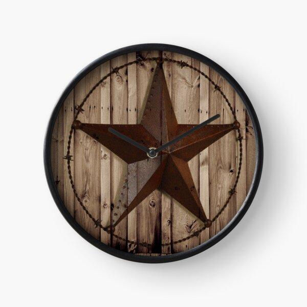 primitive western country barn wood grunge texas star  Clock