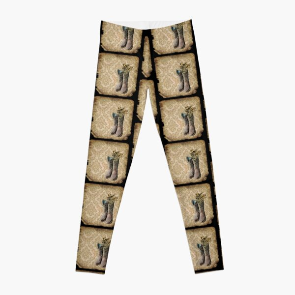 primitive Wildflower brown damask western country cowboy boots Leggings