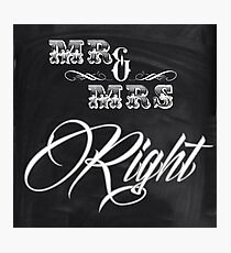 honeymoon Newlyweds vintage chalkboard Mr and Mrs Photographic Print