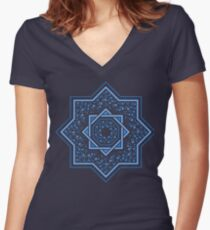 Patterned moroccan tiles with floral ornamentral, blue Women's Fitted V-Neck T-Shirt