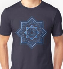 Patterned moroccan tiles with floral ornamentral, blue T-Shirt