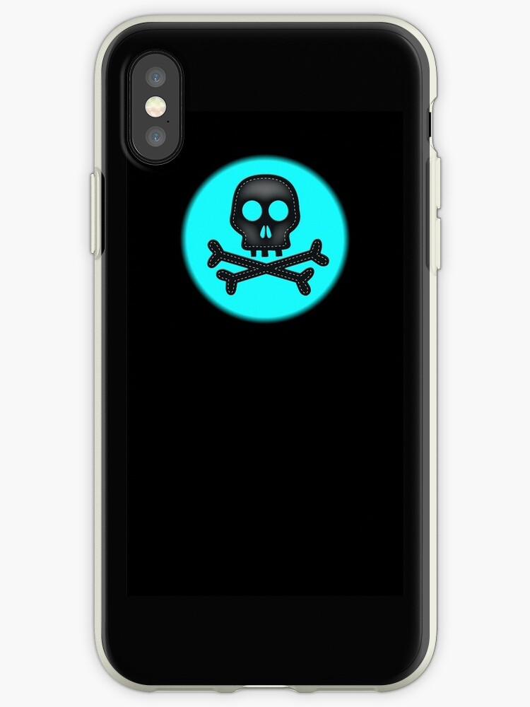 Teal black simple skull crossbones design by artisticattitud