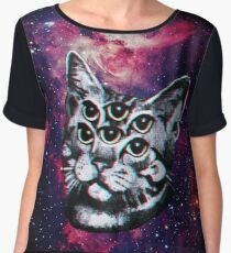 Psychedelic Cat (3D vintage effect) Women's Chiffon Top