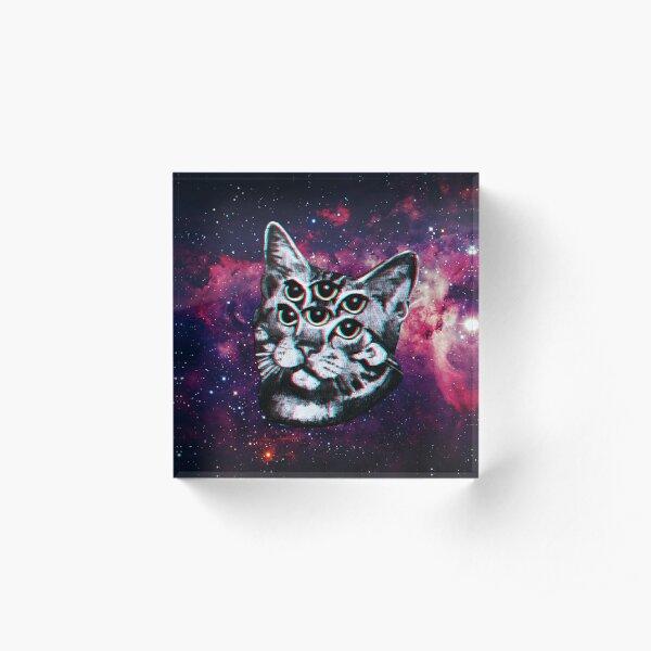 Psychedelic Cat (3D vintage effect) Acrylic Block