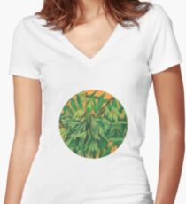 """Ash-tree"", green & yellow, floral art Women's Fitted V-Neck T-Shirt"