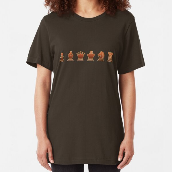 Chess - Brown pieces Slim Fit T-Shirt