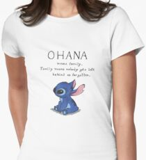 Ohana Means Family Womens Fitted T-Shirt
