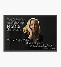Gillian Anderson Female Characters Quote Photographic Print