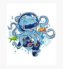 Octopus With Gamepad And Vr Goggles Photographic Print