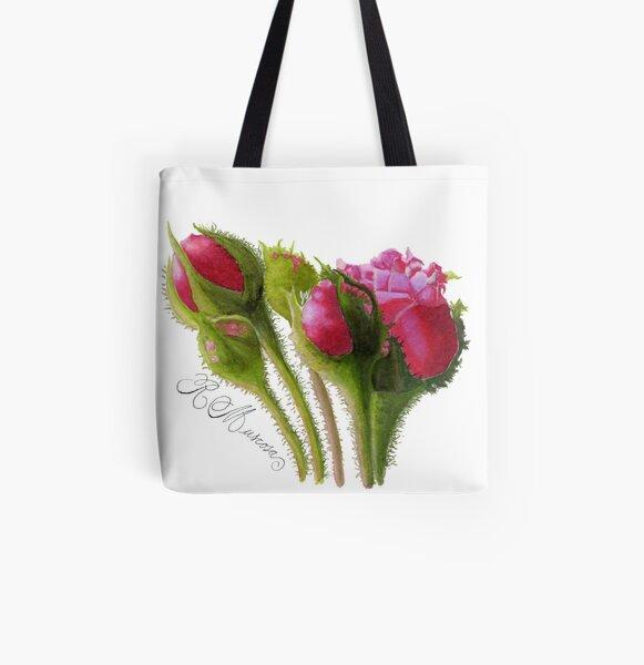 Moss Rose - 'Rosa Centifolia Muscosa' All Over Print Tote Bag