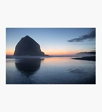 Sunset at Haystack Rock Photographic Print