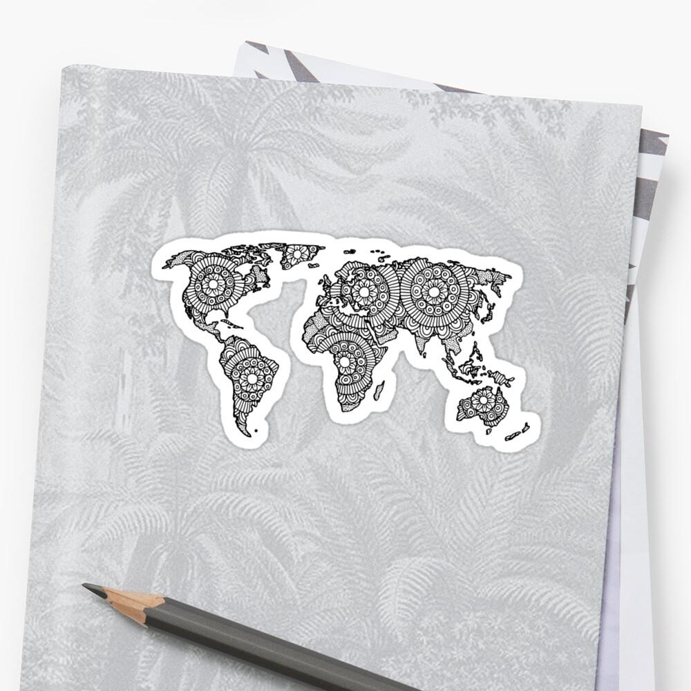 Mandala World Map Sticker Front