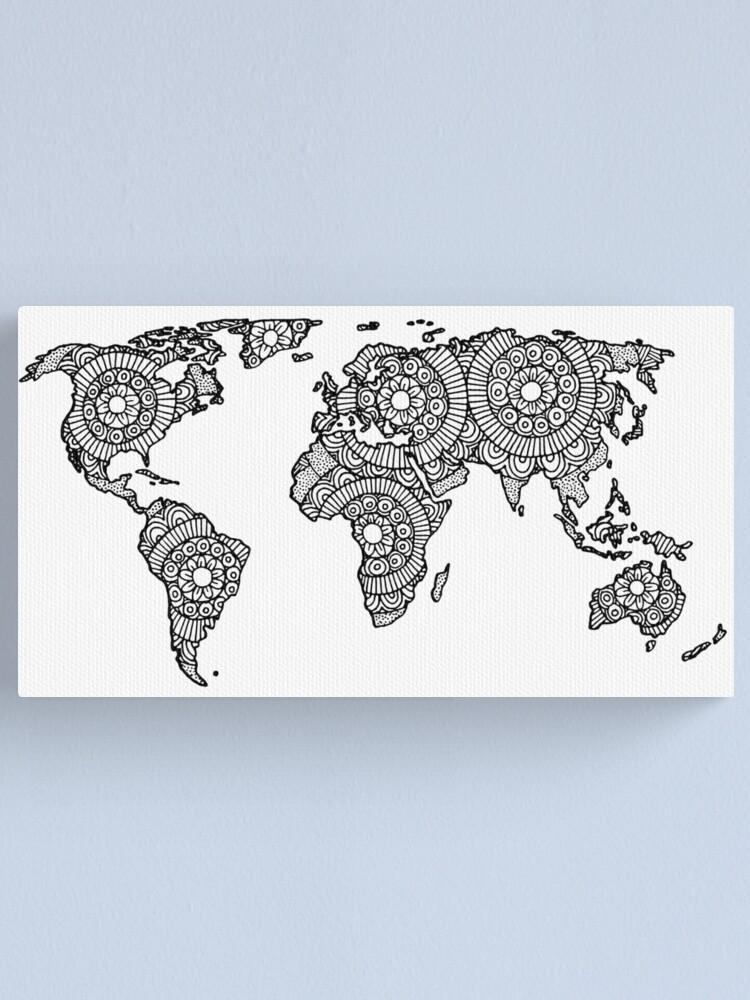 Mandala Weltkarte Leinwanddruck Von Julieerindesign Redbubble