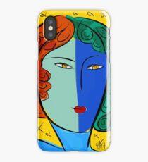 Blue Pop Girl Portrait iPhone Case