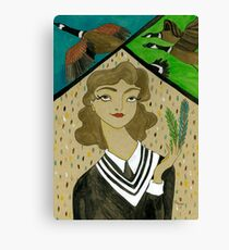 Girl with Canadian Geese Canvas Print