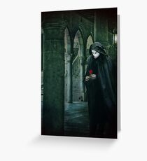 Venice, Carnival memories, masked man with rose Greeting Card