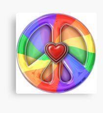 Rainbow Peace Hearts Canvas Print