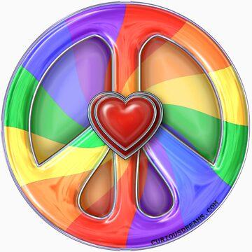 Rainbow Peace Hearts by Curious