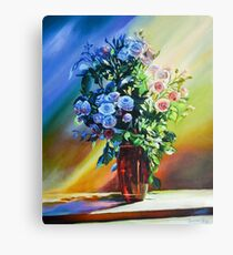 Still Life With Blue Roses Canvas Print