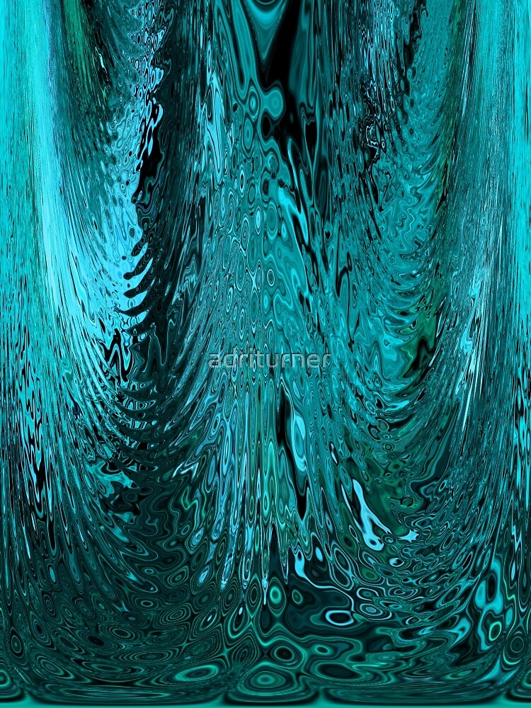 Teal Blue Abstract Water Glass Ripples Waves Design Pattern by Adri Turner