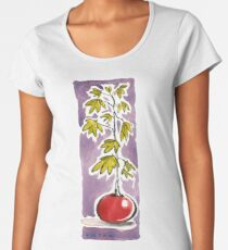 Round Red Potted Plant Women's Premium T-Shirt