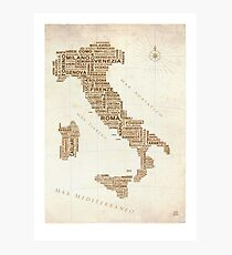 Italien-Textkarte Fotodruck