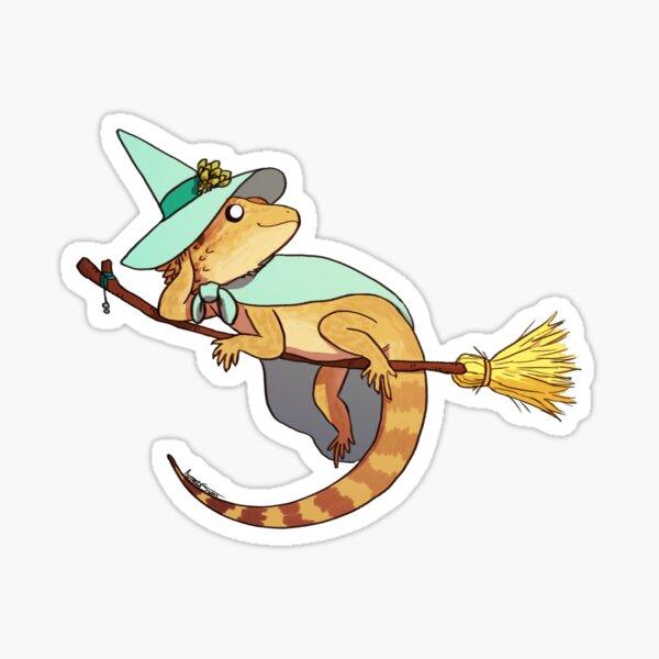 Bearded Dragon on a Broom Sticker