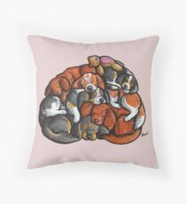Sleeping pile of Cavalier King Charles Spaniels Throw Pillow