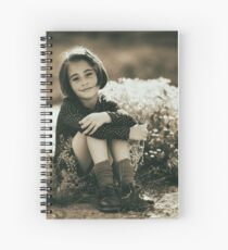 Cute girl with flowers field Spiral Notebook