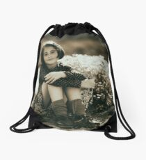 Cute girl with flowers field Drawstring Bag