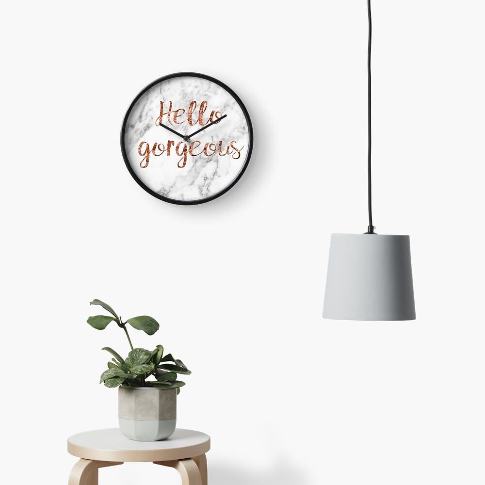 Hello gorgeous - rose gold marble Clock