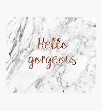 Hallo wunderschön - Rose Gold Marmor Fotodruck