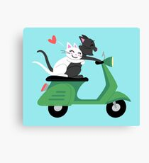 Scooter Cats in Love Canvas Print