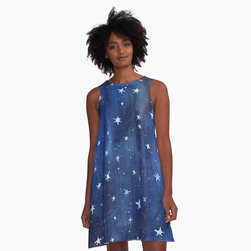 Stern-Aquarell-Illustration A-Linien Kleid