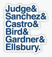 Yankees 2017 Roster Helvetica List  Sticker