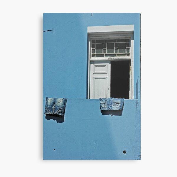 blue jeans on a blue wall Metal Print