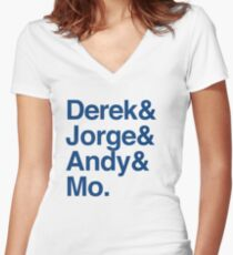 The Core Four - Yankees - Helvetica List Women's Fitted V-Neck T-Shirt