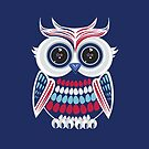 Patriotic Owl - Blue by Adam Santana