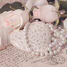 Soft Pink Nostalgic Rose and Heart Still by artsandsoul