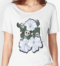 White Flowers and Skulls Women's Relaxed Fit T-Shirt