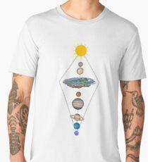 Camiseta premium para hombre Sistema solar de tierra plana