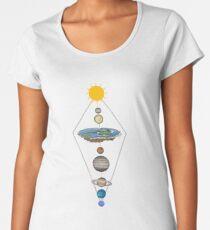 Camiseta premium de cuello ancho Sistema solar de tierra plana