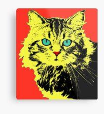 POP ART CAT - YELLOW RED Metal Print