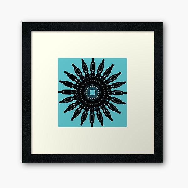 Blue & Black Mandala Framed Art Print