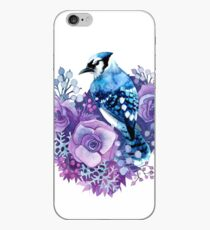 Blue Jay and Violet Flowers Watercolor  iPhone Case