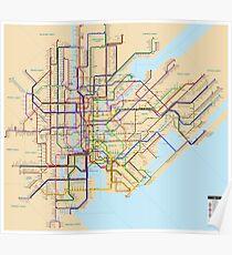 new york subway metro map Poster