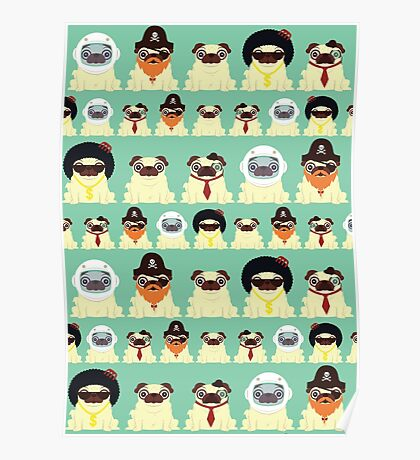 Pug pattern Poster